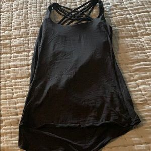 Lulu lemon black stripe tank w/built in sports bra